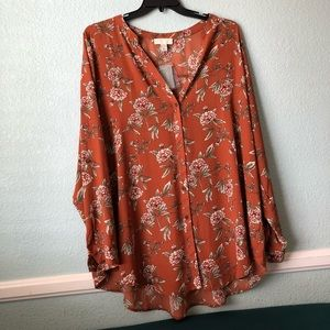 Floral orange plus size tunic